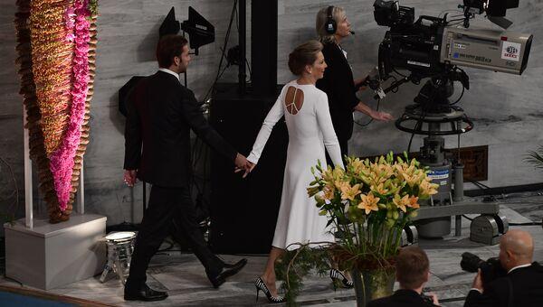 Супруга колумбийского президента Хуана Мануэля Сантоса Мария Клеменсия Родригес во время церемонии присуждения Нобелевской премии мира в Осло