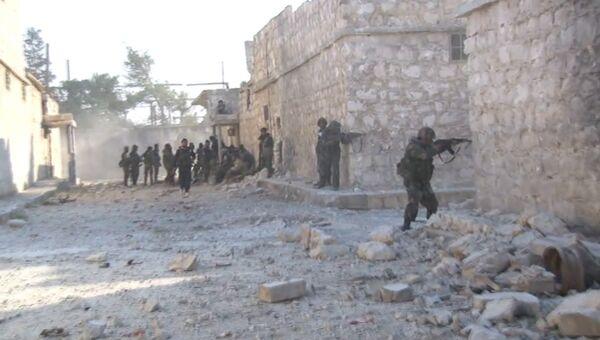 Кадры боя между сирийской армией и боевиками ИГ за квартал Шейх-Саид в Алеппо