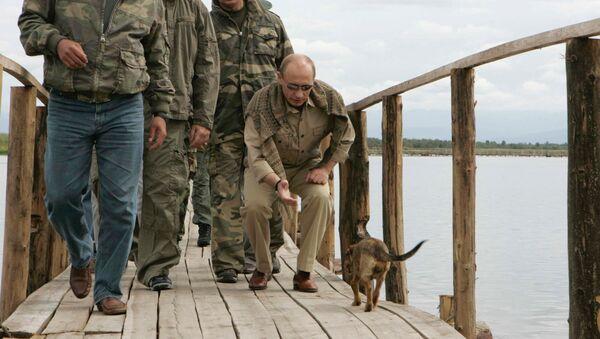 Глава МЧС Сергей Шойгу, князь Монако Альберт II и президент России Владимир Путин на острове, где находится крепость Пор-Бажын