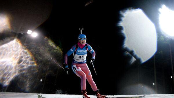 Екатерина Глазырина на дистанции спринтерской гонки на третьем этапе Кубка мира