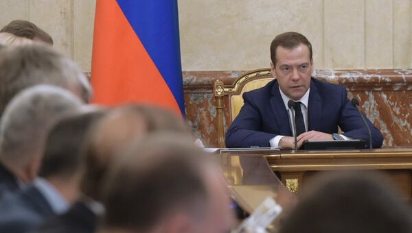 Председатель правительства РФ Дмитрий Медведев проводит заседание кабинета министров РФ в Доме правительства РФ. 19 декабря 2016
