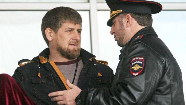 Глава Чеченской Республики Рамзан Кадыров и заместитель министра МВД ЧР Апти Алаудинов. Архивное фото