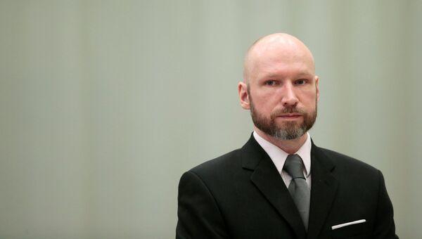 Андерс Брейвик на заседании апелляционного суда в тюрьме Шиен. архивное фото