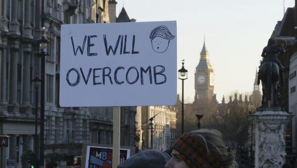 Участники акции протеста в Лондоне против избрания Дональда Трампа президентом США