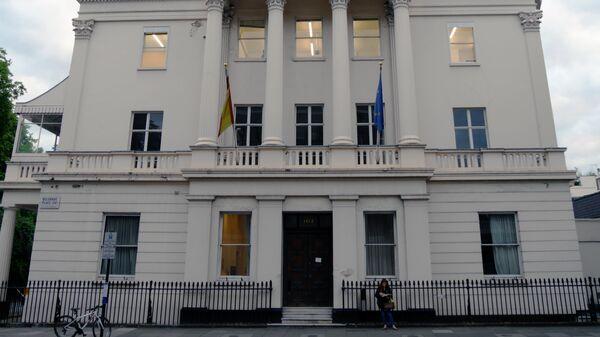 Бывшее здание Института Сервантеса на Итон-Сквер, 102 в Лондоне, Великоритания. Архивное фото