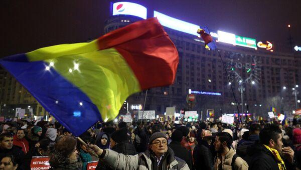 Акция протеста против отставки правительства Румынии в Бухаресте