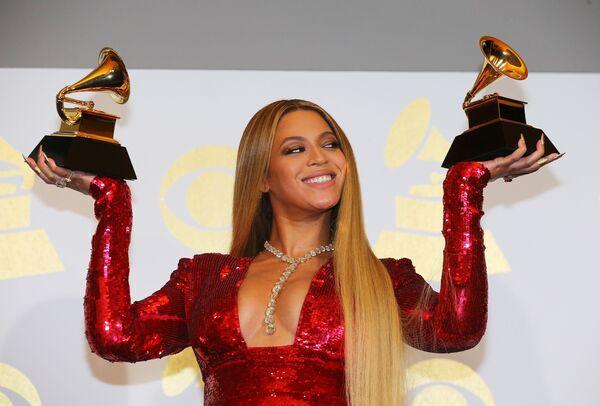 Певица Бейонсе на 59-й ежегодной премии Грэмми в Лос-Анджелесе, 12 февраля 2017