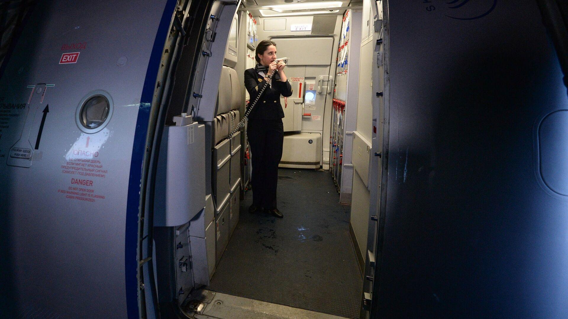 Бортпроводник рейса SU 1307 авиакомпании Аэрофлот во время подготовки к рейсу самолета А-321 на стоянке в новосибирском аэропорту Толмачево - РИА Новости, 1920, 27.01.2021