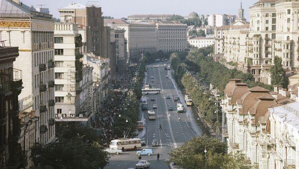 Вид на улицу Крещатик в городе Киеве. Архивное фото