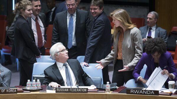 Постоянный представитель России при ООН Виталий Чуркин и спецпредставитель США при ООН Саманта Пауэр перед заседанием Совета Безопасности