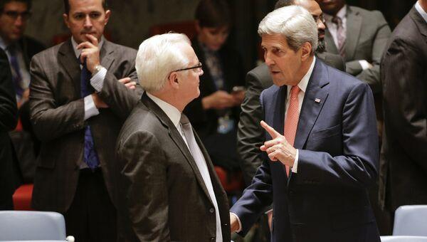 Постоянный представитель России при ООН Виталий Чуркин и госсекретарь США Джон Керри перед началом заседания Совета Безопасности