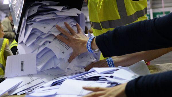Подсчет голосов рефрендума о независимости Шотландии. 2014 год. Архивное фото