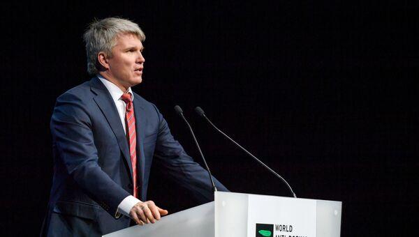 Министр спорта РФ Павел Колобков выступает на симпозиуме Всемирного антидопингового агентства (WADA) в Швейцарии. 13 марта 2017