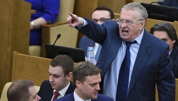 Лидер ЛДПР Вдадимир Жириновский на пленарном заседании Государственной Думы РФ. 15 марта 2017