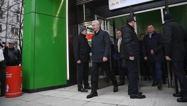 Мэр Москвы Сергей Собянин во время открытия станции метро Раменки