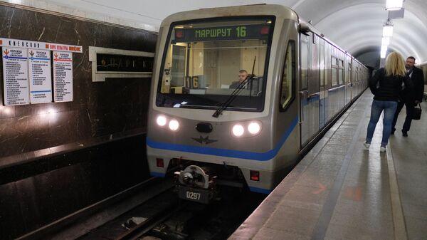 Поезд на станции Парк культуры московского метро