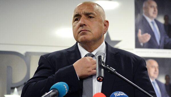 Лидер политической партии Граждане за европейское развитие Болгарии (ГЕРБ) Бойко Борисов в штабквартире партии ГЕРБ после окончания парламентских выборов в Болгарии