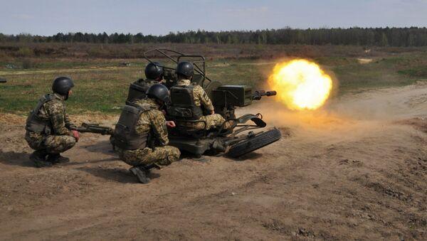 Украинские военные во время учений на полигоне под Львовом