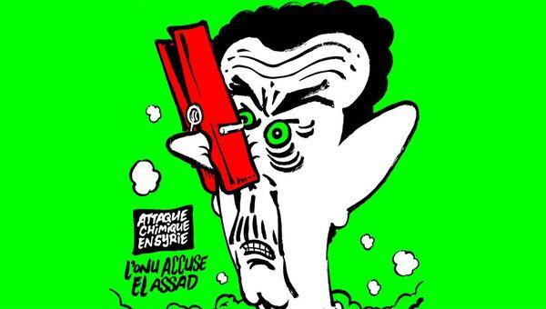 Карикатура Charlie Hebdo на Башара Асада с прищепкой на носу