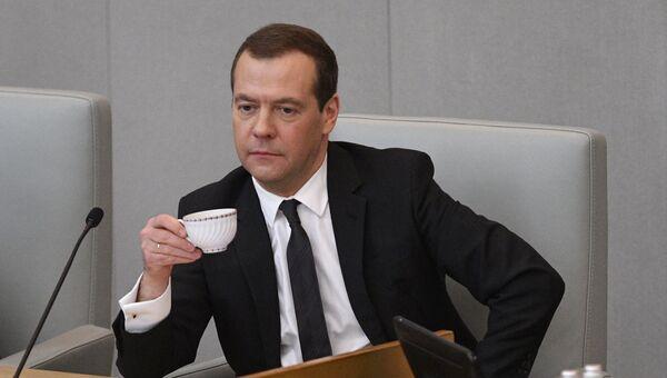 Председатель правительства РФ Дмитрий Медведев на пленарном заседании Государственной Думы РФ. 19 апреля 2017