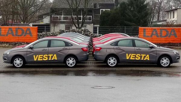Автомобили LADA Vesta во время старта продаж в Германии