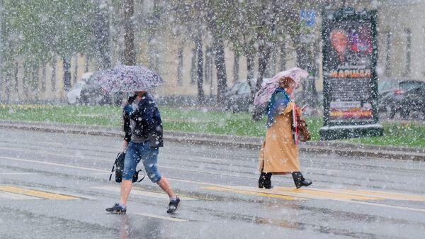 Пешеходы переходят дорогу в Москве во время снегопада