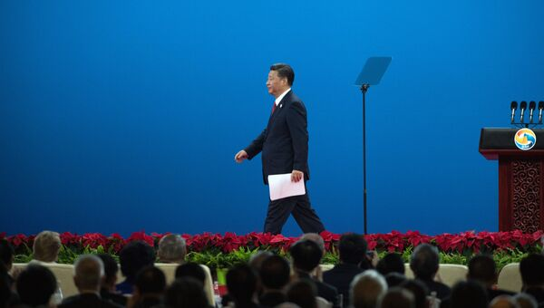 Председатель КНР Си Цзиньпин выступает на церемонии открытия Международного форума Один пояс, один путь в Пекине. Архивное фото