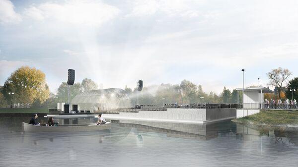 Сценический комплекс Зеленый театр ВДНХ. Сцена на воде