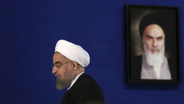 Президент Ирана Хасан Роухани во время пресс-конференции в Тегеране. 22 мая 2017