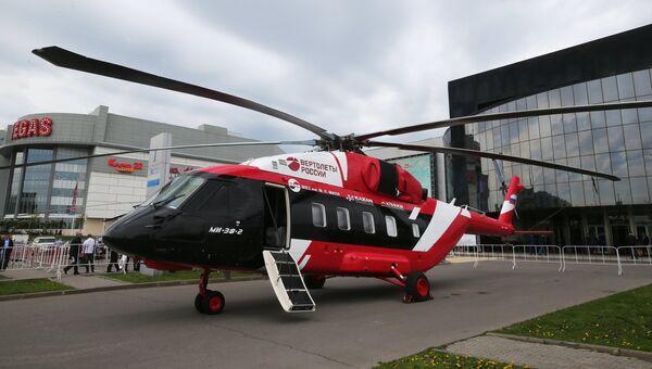 Транспортно-пассажирский вертолёт Ми-38-2 (ОП-3) на X международной выставке вертолетной индустрии HeliRussia в Международном выставочном центре Крокус Экспо в Москве