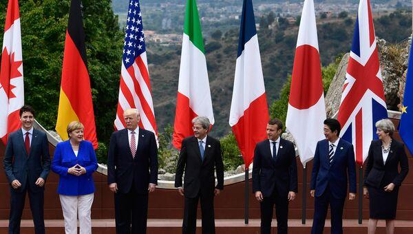 Лидеры стран Большой семерки во время саммита G7 в Таормине, Италия. 26 мая 2017