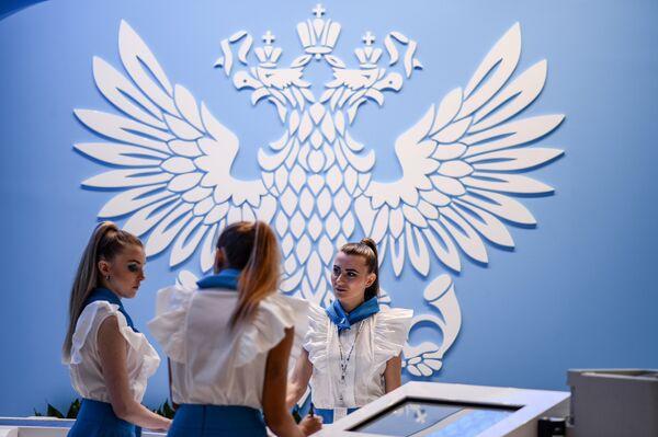 Стенд Почты России в Экспофоруме накануне открытия Санкт-Петербургского международного экономического форума 2017