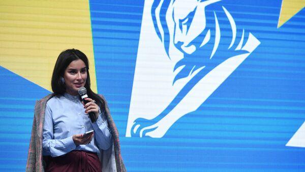 Генеральный продюсер Матч ТВ Тина Канделаки выступает на панельной дискуссии Киберспорт и российское телевидение в рамках образовательной части фестиваля-показа Каннские львы в Москве