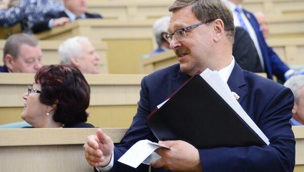 Председатель комитета Совета Федерации по международным делам Константин Косачев на заседании Совета Федерации РФ. 14 июня 2017