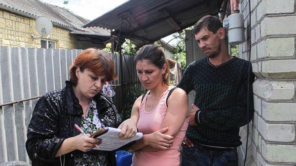 Местные жители во время демонстрации и оценки ущерба, нанесённого паводком в Ставропольском крае