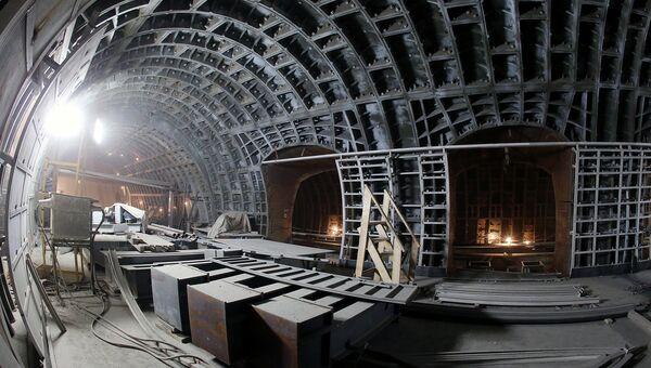 Строительство одной из станций Московского метрополитена. Архивное фото