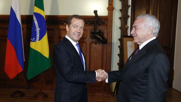 Председатель правительства РФ Дмитрий Медведев и президент Бразилии Мишел Темер. 21 июня 2017