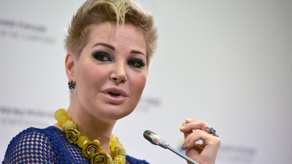 Вдова экс-депутата Госдумы РФ Дениса Вороненкова, оперная певица Мария Максакова на пресс-конференции в Киеве. 21 июня 2017