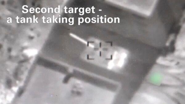 Стоп-кадр с видео ВВС Израиля, показывающий уничтожение цели в сирийской провинции Кунейтра в результате израильского авиаудара. 24 июня 2017