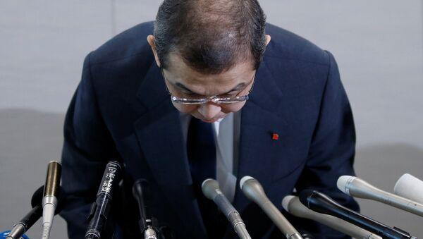 Председатель правления и генеральный директор компании Takata Шигешиса Такада на пресс-конференции по поводу банкротства. 26 июня 2017