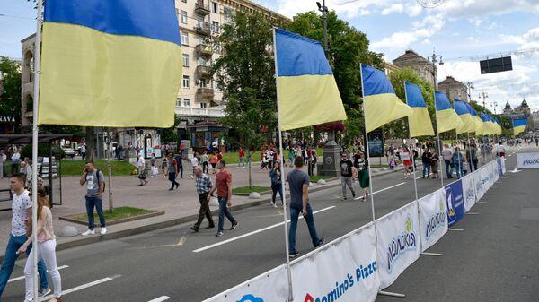 Флаги Украины на улице в Киеве. Архивное фото