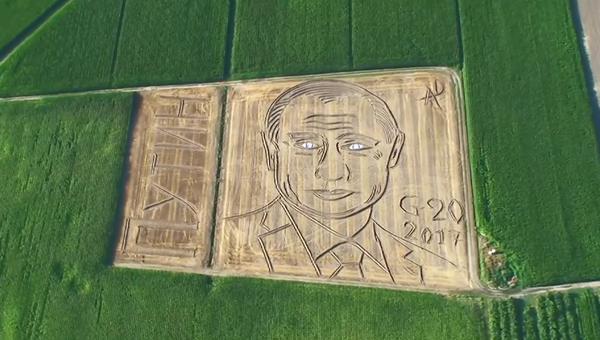 Трактор и поле вместо кисти и холста – как итальянский фермер рисовал Путина