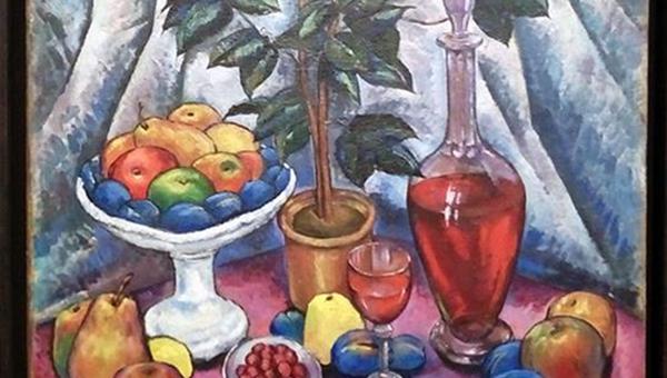 Илья Машков. Натюрморт с камелиями, фруктами и вином. 1913