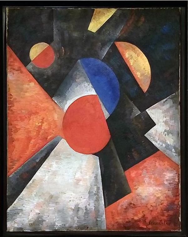 Александра Экстер. Абстрактная композиция с красными, голубыми и желтыми полушариями. 1917-1918