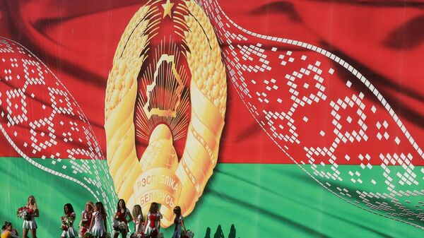 Флаг Белоруссии во время празднования Дня Независимости в Минске