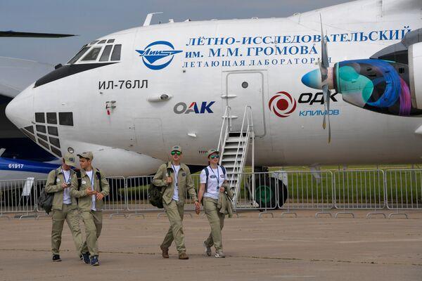 Летающая лаборатория Ил-76Л , представленная на Международном авиационно-космическом салоне МАКС-2017 в подмосковном Жуковском