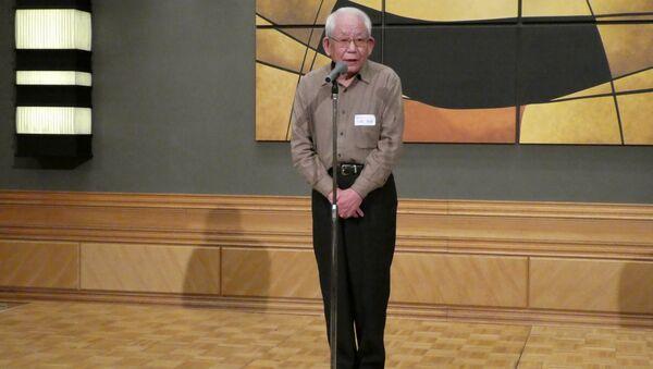 Ёсиро Ямаваки на конференции Фонда содействия миру, Нагасаки
