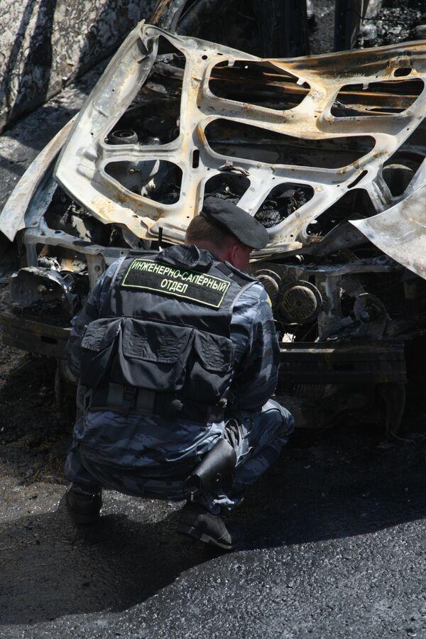 В тоннеле сгорела машина