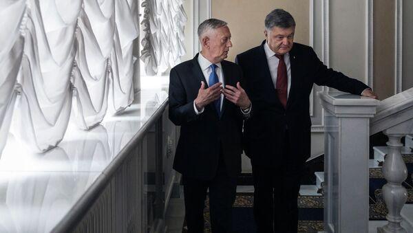 Президент Украины Петр Порошенко и министр обороны США Джеймс Мэттис во время встречи в Киеве. 24 августа 2017