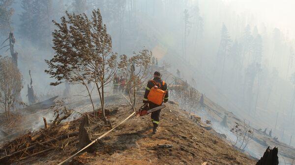 Сотрудники противопожарной службы в Грузии